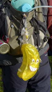 One rucksack with essential banana protector (present from a 'thoughtful' friend!)