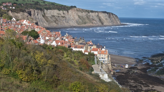 Robin Hood's Bay. Wainwright's route finishes along the cliffs on the far side - a delightful 3 miles of walking and a fine and fitting end to a magic walk.