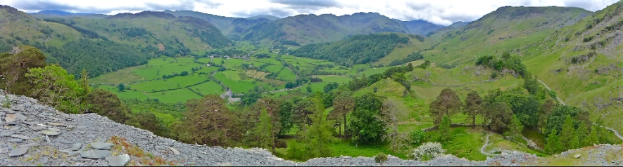 The Golden Mile of Borrowdale taken from Castle Crag.